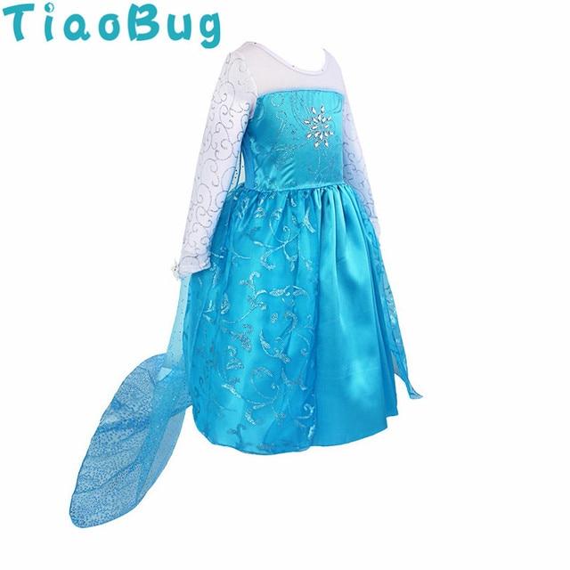 TiaoBug Kinder Mode Blau Glitzernde Prinzessin Party Kleid + Netz ...