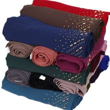 ธรรมดา Pearl ชีฟองมุสลิม Hijab ผ้าพันคอและผ้าคลุมไหล่ Glitter Rhinestone ตุรกีเพชรสายคาดศีรษะ Hijab Tudung 75*180 ซม.