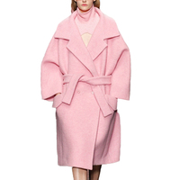 Buenos Ninos Solid Pink Turn Down Collar Double Cashmere Women Coat Double Breasted Sashes Slim Brand