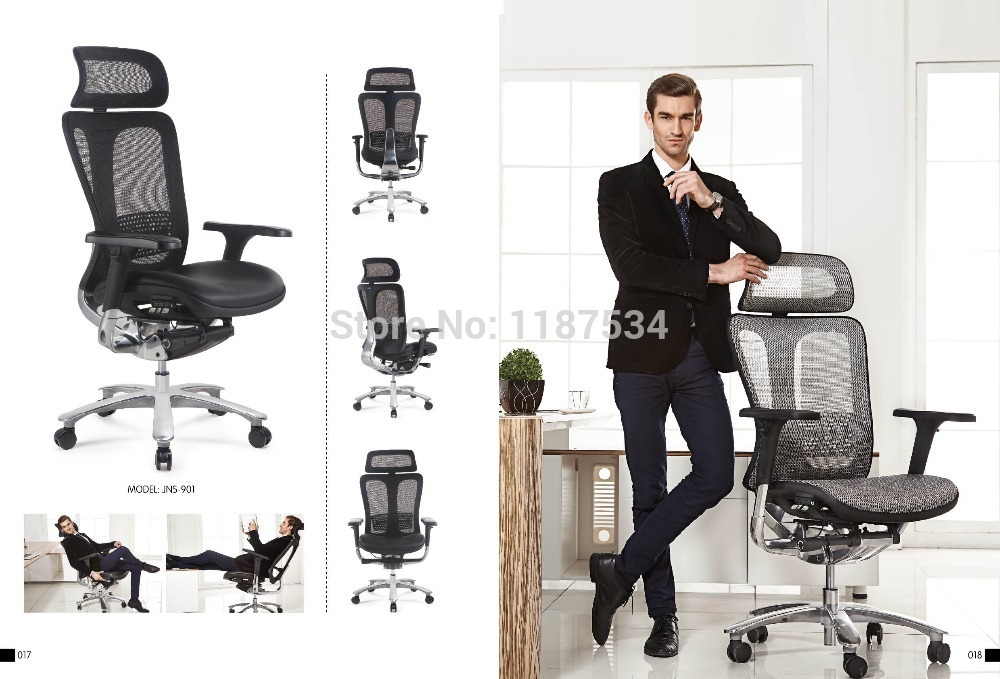 JNS901YK Mesh and leather office chair executive swivel chair with headrest office chair 240337 ergonomic chair quality pu wheel household office chair computer chair 3d thick cushion high breathable mesh