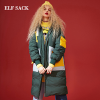 ELF SACK Winter New Down Jackets Woman 90%White Duck Down Coat Women Thick Casual Patchwork Femme Jackets Stylish Female Coats