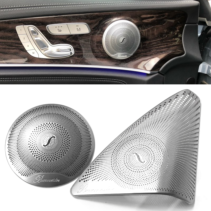 For Mercedes Benz New C Class W205 2015-2017 Car-styling Stainless Steel Car Door Audio Speaker Decorative Cover Trim 3D Sticker