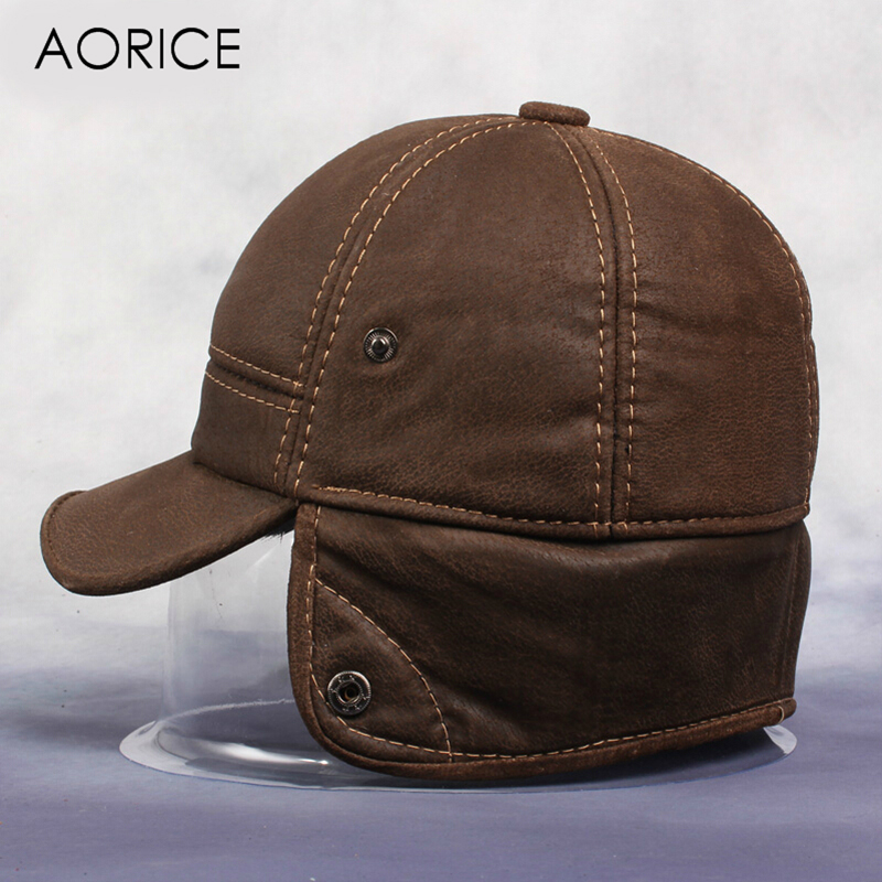 Aorice New Men's Scrub Genuine Leather Baseball Cap Russian Winter Warm Baseball Hat With Faux Fur Inside HL083 aorice winter genuine sheepskin leather hat brand new men s warm earmuffs hat man baseball caps leisure fashion brand hats hl030
