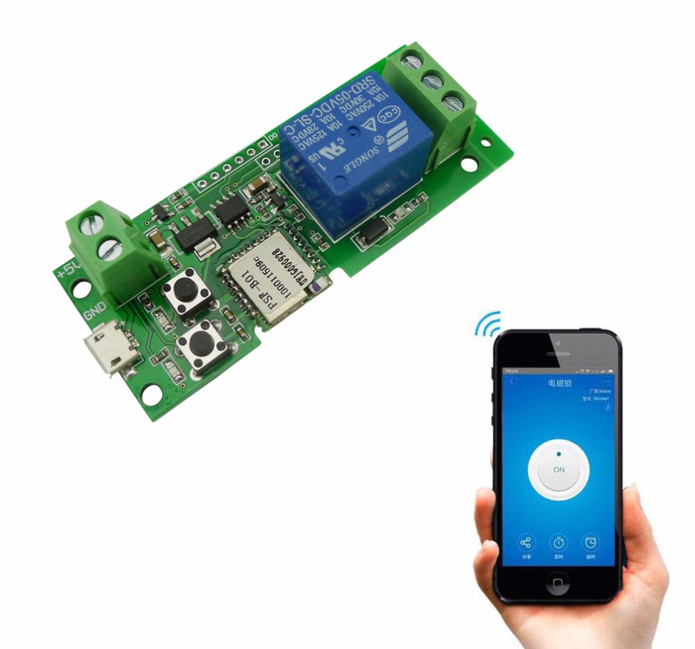2pcs//lot 10A//2200W 5V Smart WiFi Voice Control Switch Modul Timing Function APP