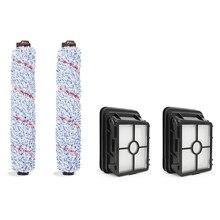 2 pçs 1866 hepa filtro & 2 pçs 1868 rolo escova para bissell crosswave 1785 1785 g/v/w aspirador de pó parte substituição #1608683