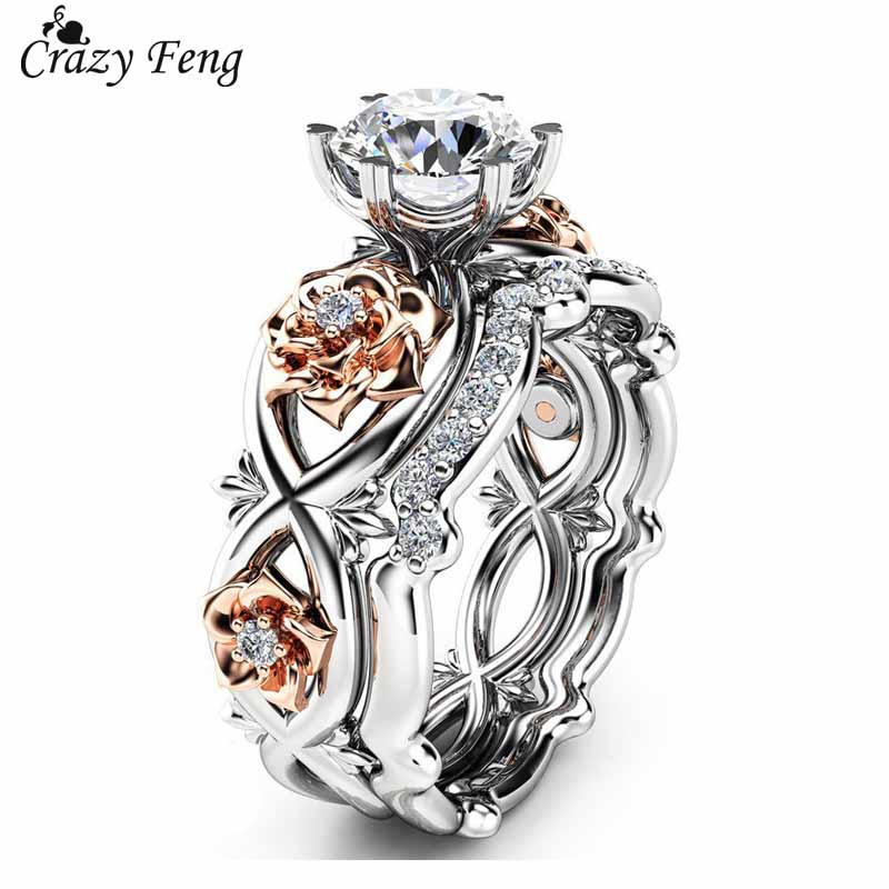 Crazy Feng 2pcs Crystal Wedding Rings Rose Size Jewelry