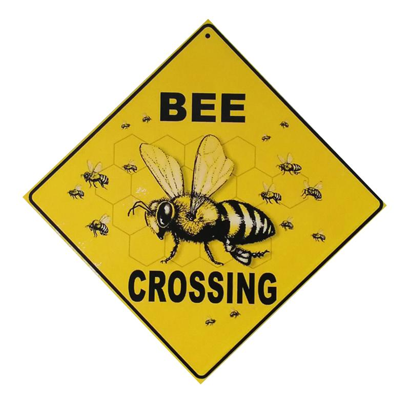 Wood Sign Board BEE CROSSING Novelty Funny Home Office Garden Decorative Plaque Hanging Sign