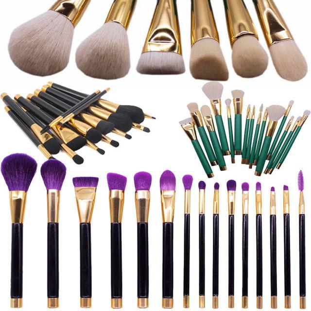 Profesional 15 unids Kits de Maquillaje Pinceles Set Maquillaje Herramientas de Brocha Cosmética Lápiz Kabuki Sombra/corrector/contorno/mezcla/delineador de ojos