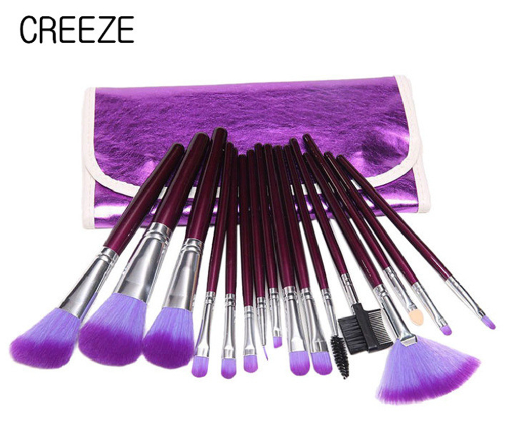 CREEZE 16Pcs Purple Makeup Brushes Cosmetic Set Blush Eye Shadow Foundation Powder Brush Powder Soft Make-up Brushes with Bag 7 pcs portable cosmetic wooden handle makeup brushes set make up eye shadow blush brush cosmetic kit with pouch bag