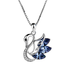 1PC Women Necklace Lady Charming Rhinestones Opal Swan Pendants Necklace  Sweater Chain Xmas Gift(China