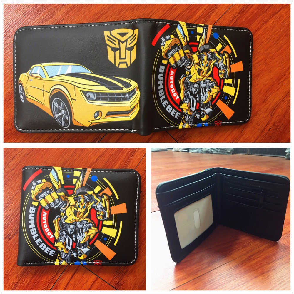 2018 New arrivel Transformers wallets Bumblebee logo purse short PU leather wallet credit card purse W646 2016 new arriving pu leather short wallet the price is right and grand theft auto new fashion anime cartoon purse cool billfold
