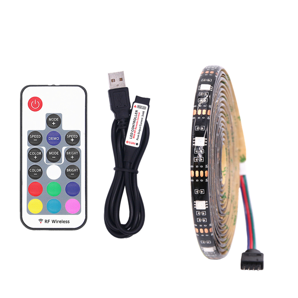5050 Waterproof 5V USB Port Power LED RGB Strip light Flexible LED String Tape for TV Desktop Background Decor Black PCB ...