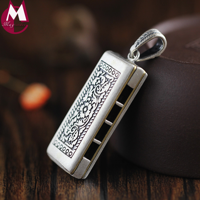 Handmade Harmonica Pendant Vintage Cuboid Geometry Can Blew Original Design 925 Sterling Thai Silver Necklace Men Jewelry SP83 chic style rhinestone crescent decorated cuboid shape pendant necklace for men