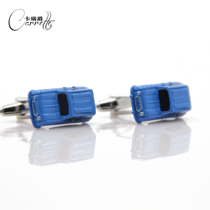 Hot cute personality style blue enamel paint cars cufflinks Cufflinks Mens French shirt cufflinks