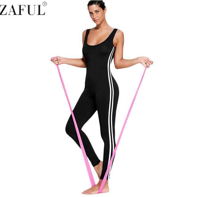 85788e239491 ZAFUL One Piece Gym Fitness Clothing Suit Padded Stripe Contrast Workout  Fitness Tights Running Tight Jumpsuits