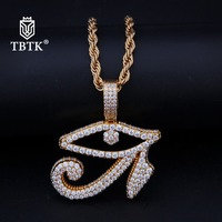 TBTK Small Large The Eye of Horus Shape Pendant Necklace Wedjat Eye Gold Unisex Stainless Steel Color Protection Western HipHop