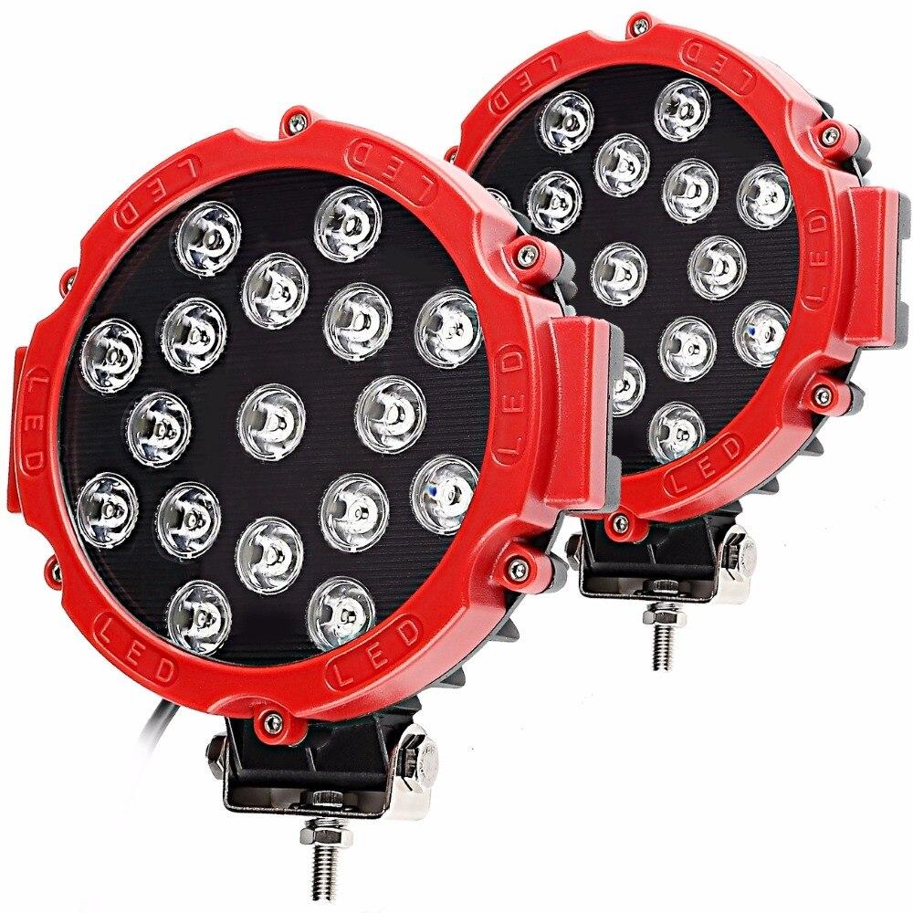 2 шт. 51 Вт светодиодный Работа Светлое пятно луча дальнего света для offroad тягач ATV внедорожник УАЗ Авто 4WD 4×4 рампы 12 В 24 В 6500 К автомобиль лампы
