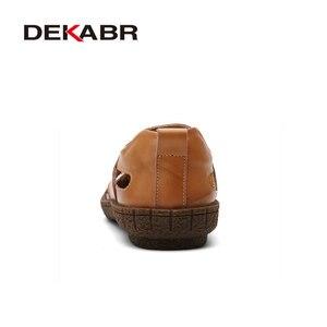 Image 3 - DEKABR marka letnie buty na plażę 2021 projektanci mody męskie sandały Split skórzane kapcie dla mężczyzn Slip On obuwie męskie