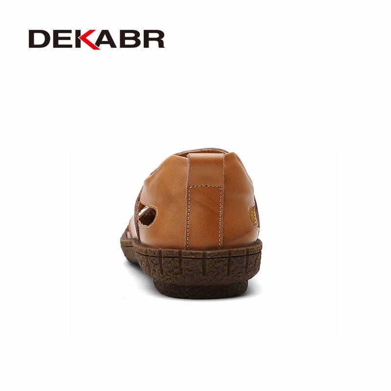 Мужская летняя пляжная обувь DEKABR, коричневые дизайнерские сандалии, слиперы из сплит-кожи, повседневные брендовые слипоны, 2019