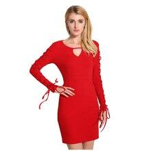 Women's sexy slim Spring Autumn dress mini Dresses long bandage sleeve short evening zipper dress