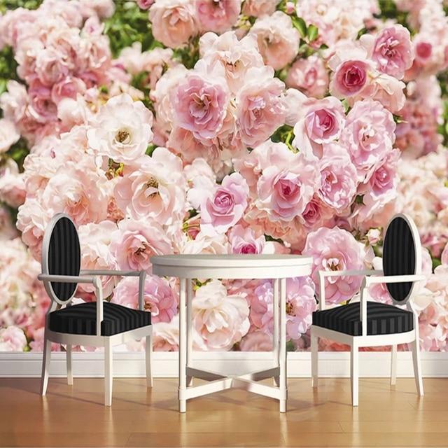 Custom 3D Photo Wallpaper For Bedroom Walls Pink Romantic Flowers ...