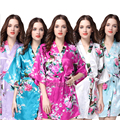2017 Summer Short Style Women Floral Printed Silk Robes Wedding Bridesmaid Robes Plus Size Women Nightgown 14 Colors 011002