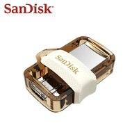 Movimentação dupla dourada da pena da relação de 32 gb usb 3.0 da movimentação do flash de sandisk otg usb mini memória de 64 gb pendrive para a tabuleta e o telefone de android