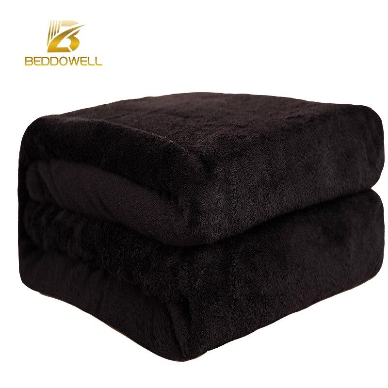 Beddowell Flanell Korallenrote Vliesdecke Polyester Schwarz Farbe 5 Größe nerz Werfen Sofa Abdeckung Karierten Blatt Weichen Decken Auf Die bett