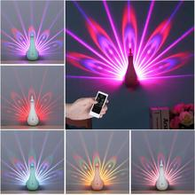 Peacock Shape 3D Projection Lamp LED Remote Control Night Wall Light Colorful for Home Decoration