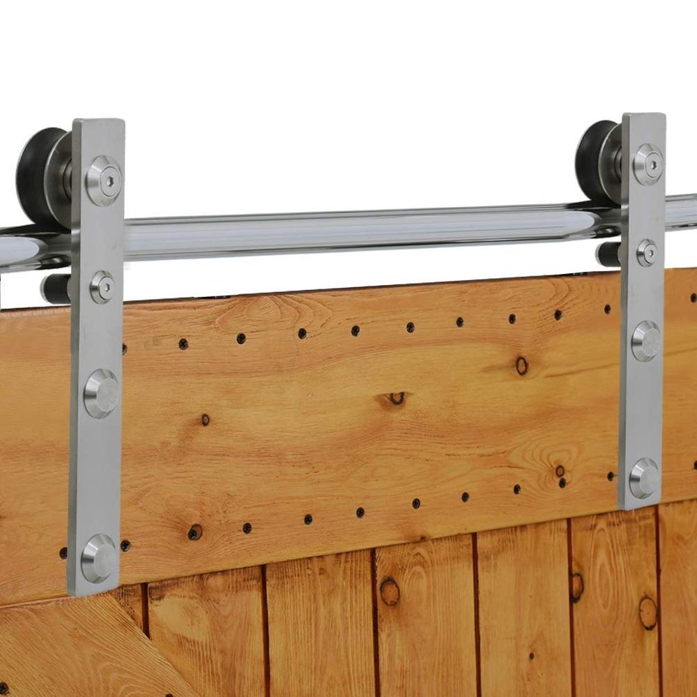 LWZH Stainless Steel Sliding Barn Door Hardware Basic Track Hardware Kit J-Shaped  with Big Roller Track Roller for Interio