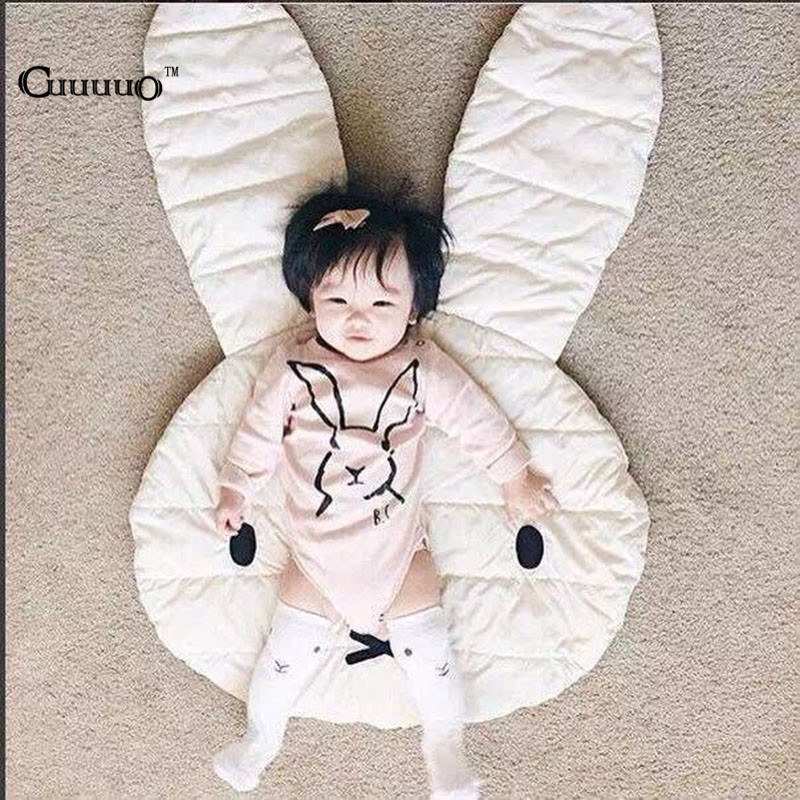 INS New Lovely Rabbit Crawling Blanket Carpet Floor Baby Play Mats Children Room Decoration Play Rugs Creeping Mat Size 106*68CM