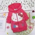2016 Весна девушки детей мультфильм толстовки sweatershirt Hello kitty верхней одежды пальто дети куртка молния кардиган