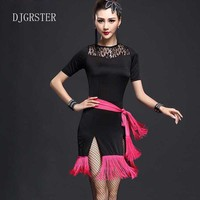 DJGRSTER 2017 Sexy Latin Dance Dress Women Girl Polyester Flamengo Salsa Samba Tango Ballroom Competition Costume