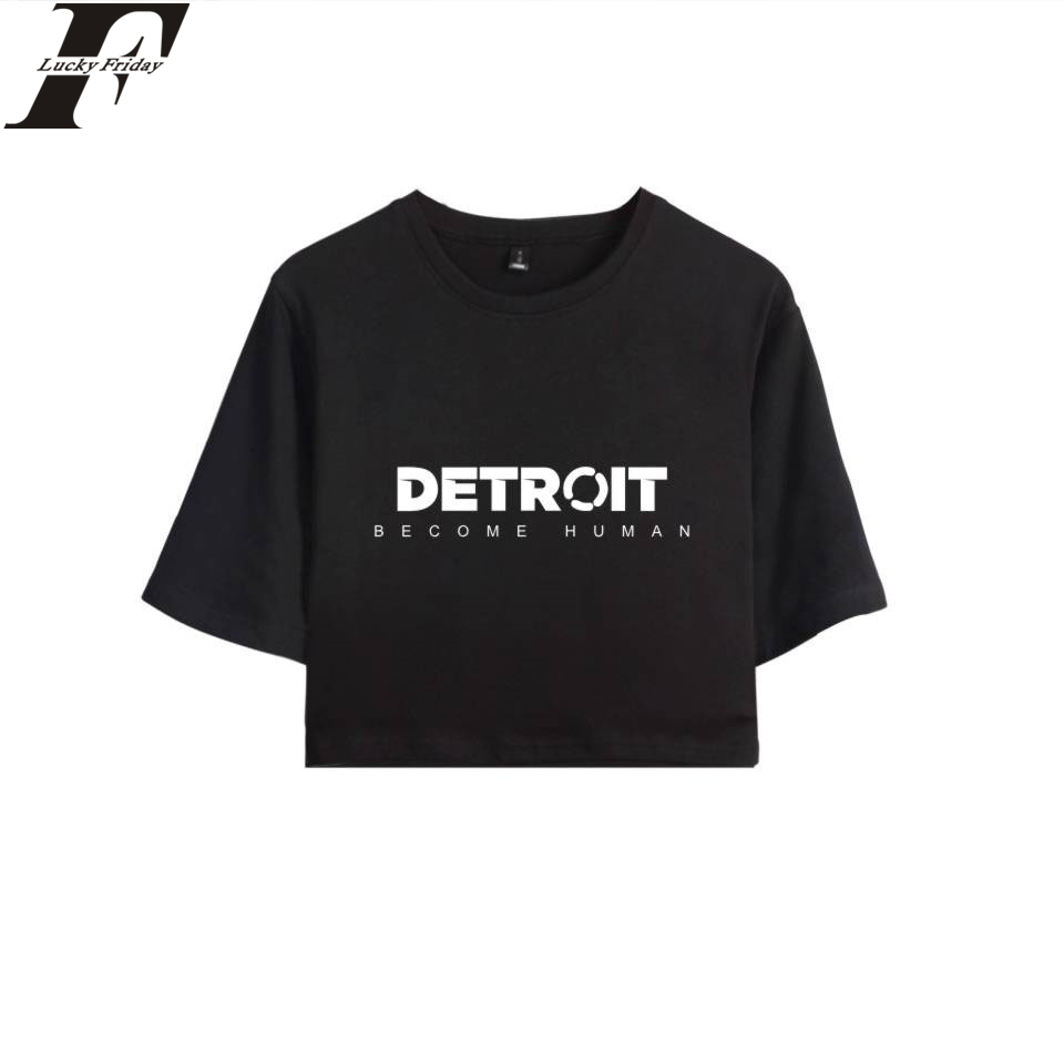 LUCKYFRIDAYF Detroit Become Human Crop Top T-shirt Hot Game 100% Cotton Short Sleeve T-shirt Regular Clothes Casual Plus Size