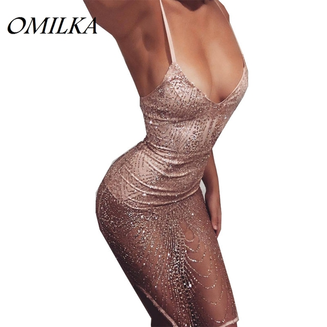 OMILKA 2017 Autumn Women Spaghetti Strap V Neck Mesh Bodycon Sequin Dress  Sexy Pink Hollow Out Glitter Night Club Party Dress 7258a65681ca