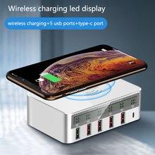 Carregador sem fio para samsung iphone multi 5 estação carregador usb doca de carregamento rápido led tela qc3.0 tipo c carregador ue eua uk plug