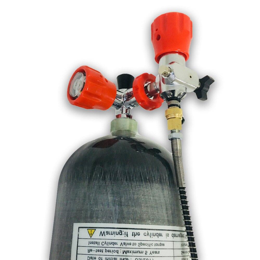 Весь набор 6.8L 4500psi углерода волокно SCBA цилиндр для PCP пневматическое оружие с красным манометром клапан и заполнить станции нитки M18 * 1,5 AC1681