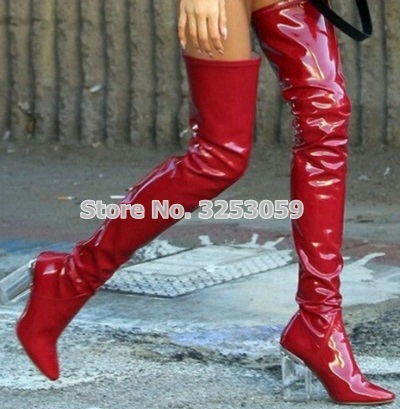 e9592aa6afe ALMUDENA Women Sexy Red Elastic Bright Leather Over-the-knee Boots Clear  Transparent Chunky