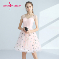 Beauty emily Short Prom Dresses new pink Prom Gowns Sleeveless Appliques Built-In Bra lovely short party dress for graduations