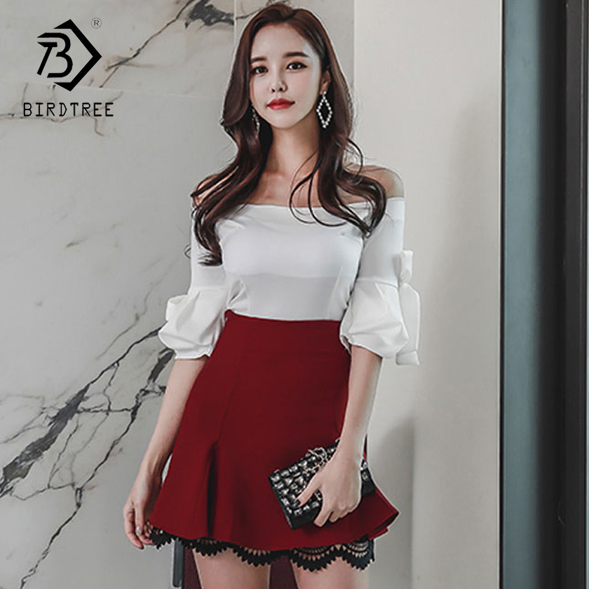 2018 Fashion Summer Women's  Bow Solid Casual Blouses Off Shoulder Slash Neck Short Flare Sleeve Bodycon Tops New Hots D85512Y