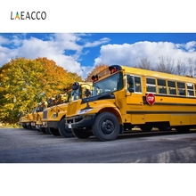Laeacco School Bus Backdrop Yellow Car Countryside Photography Backgrounds Customized Photographic Backdrops For Photo Studio