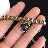 2018 new design flower bee choker for women vintage style copper jewelry retro heart love necklace luxury brand fashion jewelry