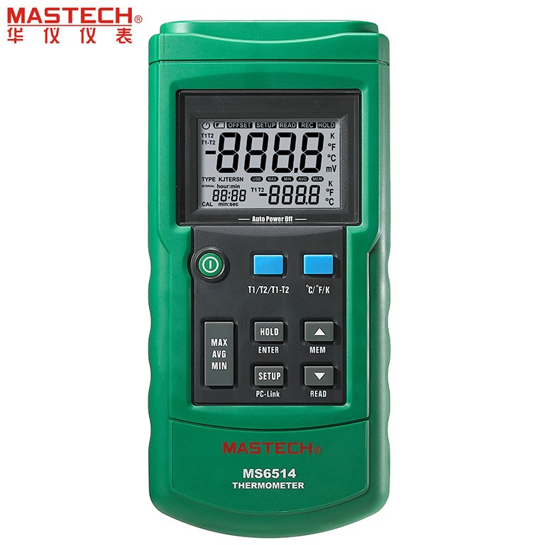 MASTECH MS6514 Dual Channel Digital Thermometer Temperature Logger Tester USB Interface 1000 Sets Data KJTERSN Thermocouple free shipping mastech ms6514 single channel temperature acquisition instrument thermocouple thermometer self calibration tester