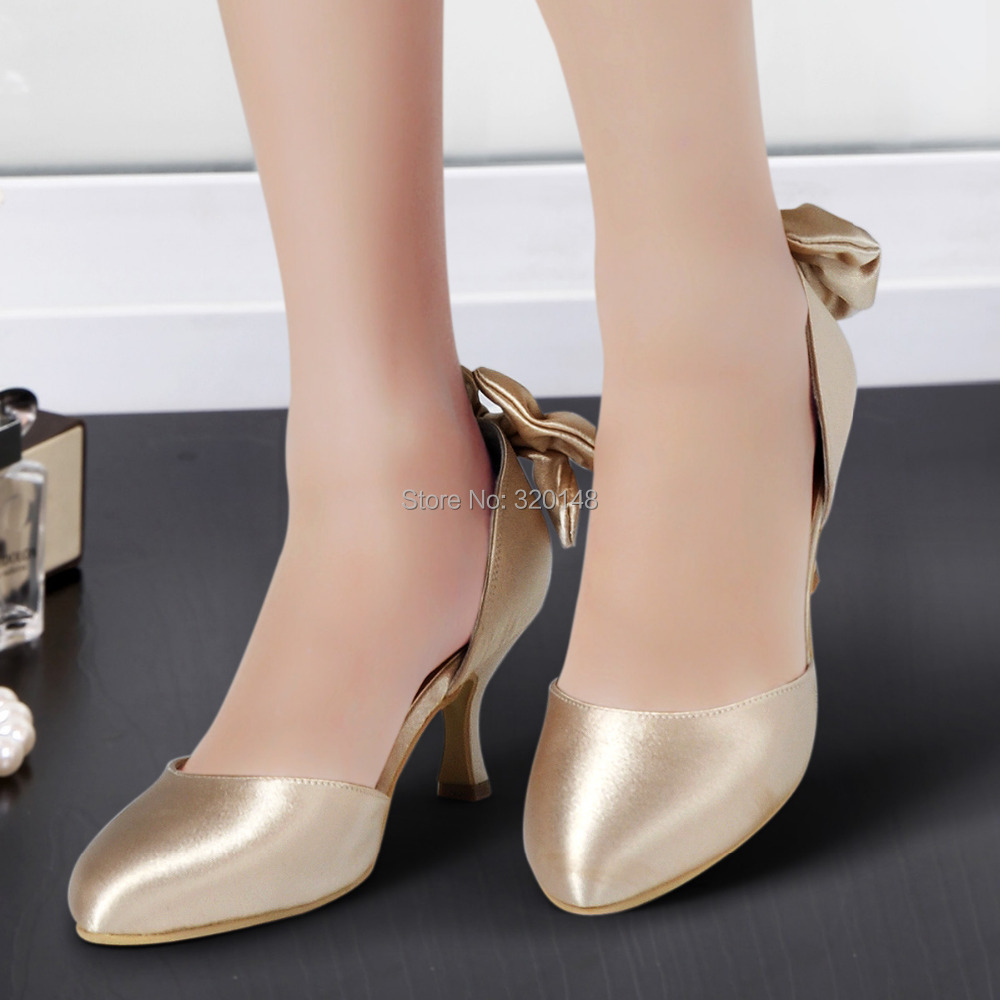 Elegant Woman Shoes AJ091 Champagne Round Toe Bow Spool