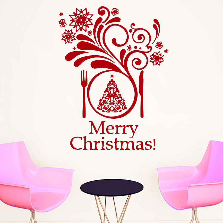 YOYOYU Restaurant Window Merry Christmas Wall Decal Snowflakes ...