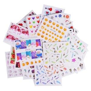 Image 5 - 50/18 листов, переводные наклейки для ногтей, смешанные наклейки, мультяшный цветочный узор, наклейки для ногтей, маникюрные татуировки для ногтей, LAM50 1