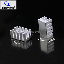 10PCS Gdstime 22x13x11MM Aluminum Heatsink Heat Sink Radiator For Electronic IC Chip Cooling jtron aluminum heat sink electronic radiator cooling aluminum block silver 100 x 45 x 10mm