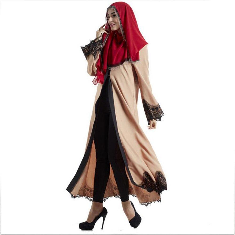 New Fashion Elegant Lace Muslim Långärmad Lin Abaya Arab Turkisk - Nationella kläder - Foto 3