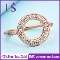 LS Hot Sale Rose Gold Hearts Halo Ring Wedding Rings For Women Compatible With Original Jewelry