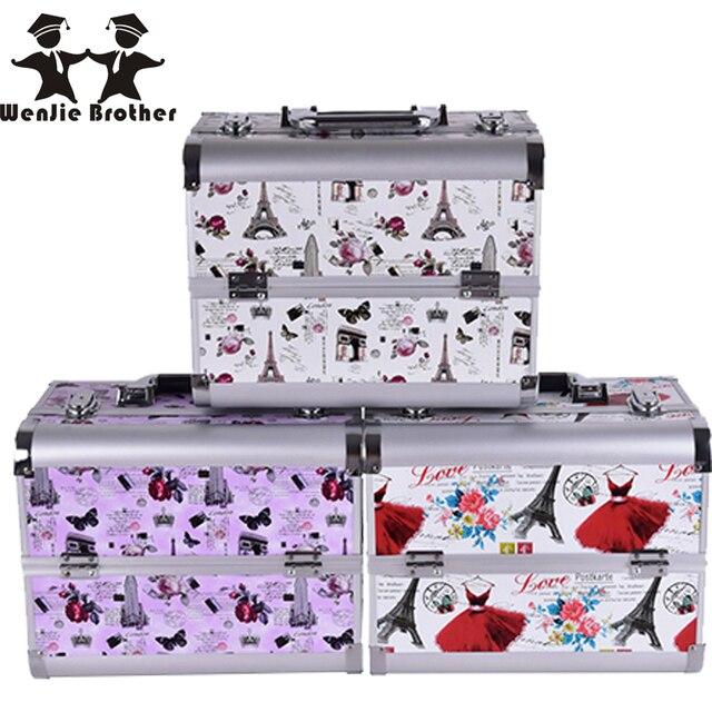 wenjie brother professional Aluminium towerMakeupBox MakeupCase BeautyCaseCosmetic Bag Multi Tiers Lockable Jewelry Box for gift